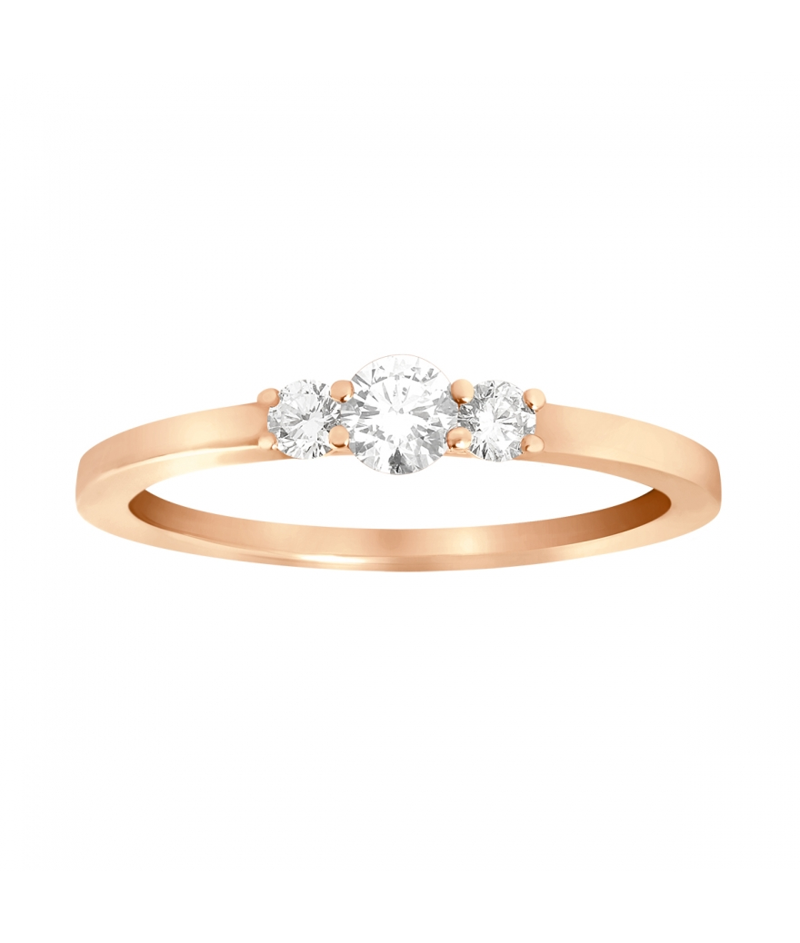 Bague Trilogie Diamant or rose