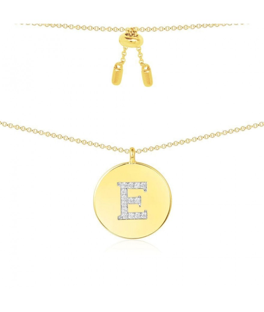 "Pendentif Alphabet ""E"" Jaune"