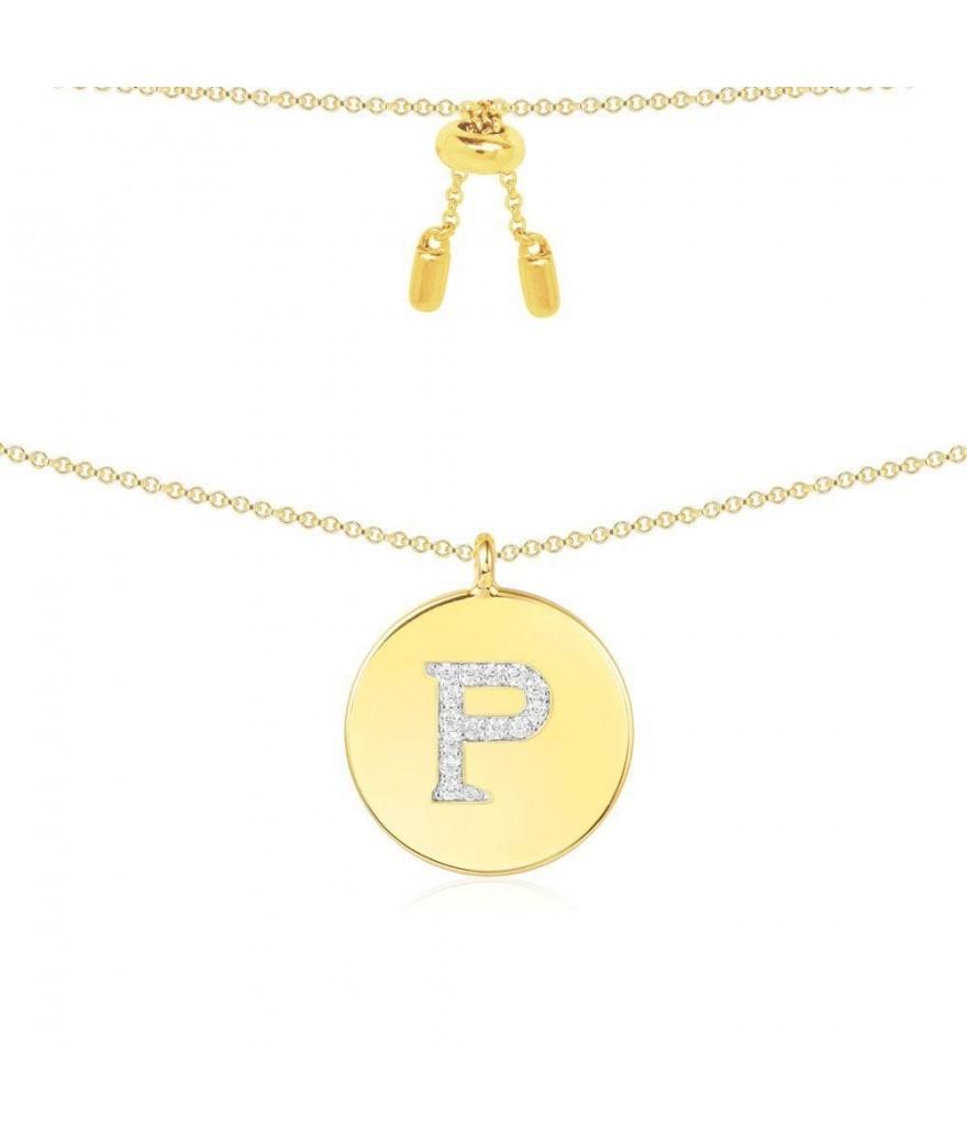 """Pendentif Alphabet """"P"""" Jaune"""