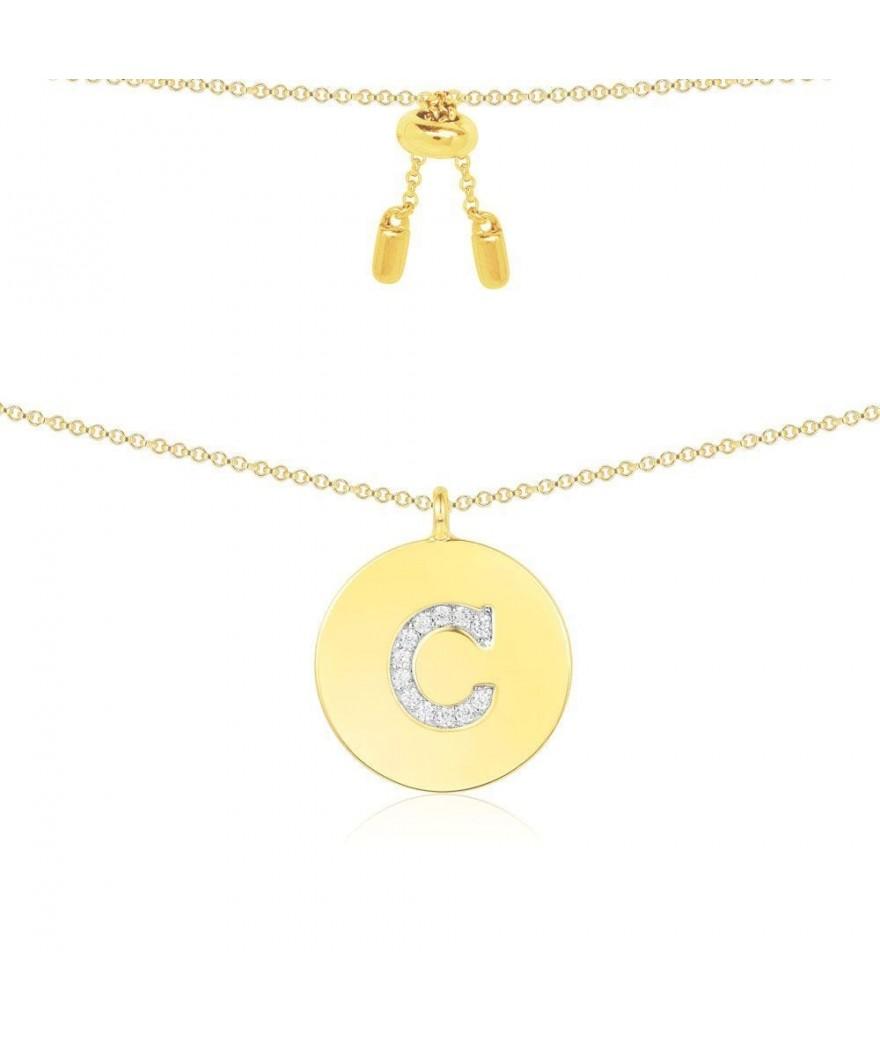 """Pendentif Alphabet """"C"""" Jaune"""